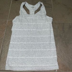 Champion gray & white striped tank top with bra